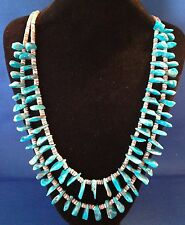 Vintage Old Pawn Turquoise and Shell Heishi Necklace Gilbert Double Strand GR339