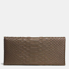 NWT COACH Envelope Long Wallet Python Embossed Leather Olive Army Green Brown