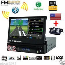 """Single 1 Din Car Stereo 7"""" In-dash Video DVD Player Windows CE Auto Radio+Camera"""