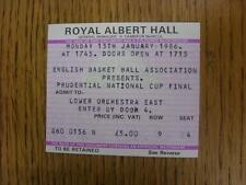13/01/1986 BIGLIETTO Basket: inglese Basket Association-PRUDENTIAL Cup