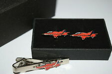 Red Arrows Cufflinks & Tie Clip set FATHERS DAY GIFT BOXED Enamel RAF Aviation