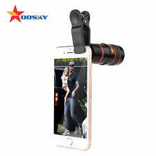 Black White 8x Zoom Optical Lens Telescope / Camera lens for iPhone Samsung& HTC