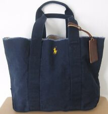 POLO RALPH LAUREN JEAN CANVAS TOTE BAG WITH YELOW/LEATHER PONY LOGO SIZE OS