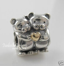 BEAR HUG Authentic PANDORA Silver/14K GOLD Heart LOVE Charm/Bead 791395 NEW