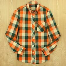 LL BEAN signature madras cotton mens shirt SMALL orange plaid checks