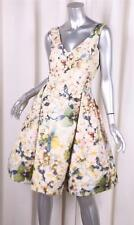 DENNIS BASSO $5250 Womens White Multicolor Floral Silk Fit+Flare Dress 4 NEW NWT