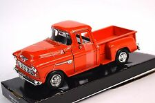 CHEVROLET 5100 STEPSIDE PICKUP 1955 MOTORMAX 73236 1:24 NEW DIECAST RED/ORANGE