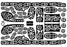 7X Sheet Self Adhesive Decal Stencils For Henna temporary tattoo Sticker Mehndi