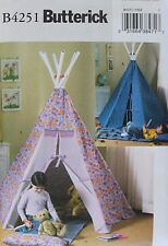 Childs PLAY CANOPY Butterick Pattern 4251 NEW Teepee Mat Tent  Playhouse