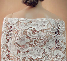 """Ivory Venise lace fabric 47"""" Wide Guipure Embroidery Bridal Lace Fabric 1 Yard"""