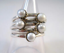 Striking Solid 925 Silver Multiple Pearl Rings, Size O. .Stacking,Layered.
