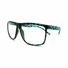 Large Oversized Plastic Frame Rectangular Geeky Nerd Fashion Clear Eye Glasses