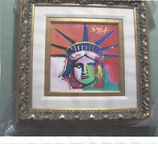 PRICE REDUCED-PETER MAX. ORIGINAL OIL PLUS 6 LIBERTY SERIES MIXED MEDIA WORKS