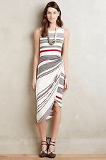 New Anthropologie Bailey 44 Gathered Stripes Midi Dress Size Small- Red White