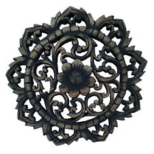 Round Wood Carved Floral Wall Art. Decorative Wood Wall Plaque. Black Wash 12""