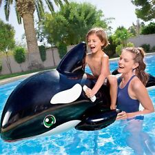 "80"" Large Inflatable Jumbo Whale Rider Ride On Beach Swimming Pool Toy Lilo Raft"