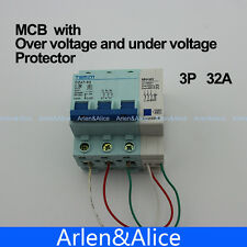 3P 32A 400V~ 50HZ/60HZ MCB MN+MV with over voltage and under voltage protection