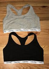 NEW CALVIN KLEIN Womens Bralette Sports Bra Top SET OF 2 Gray/Black Size Med