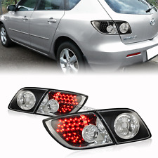 Black Housing Red LED Rear Brake Tail Light Lamps For 04-09 Mazda 3 Hatchback