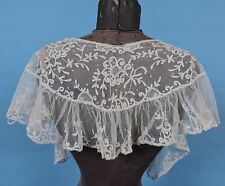 VICTORIAN 19TH C HAND MADE TAMBOUR LACE RUFFLED CAPE FOR DRESS