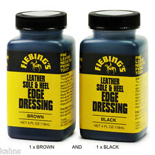 2-Pack Fiebing's Leather Sole & Heel EDGE DRESSING 4 oz Black & Brown Fiebings
