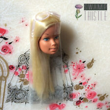 Vintage Blonde Malibu Barbie Head Hair Wrapped & Original Sunglasses Mattel 1971
