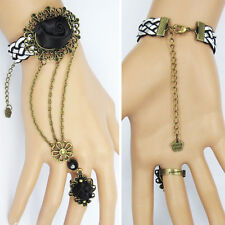 Victorian Gothic Lolita Rope Black Slave Bracelet Metal Chain Rose Costume Ring