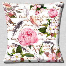 """NEW SHABBY CHIC PINK PEONIES FEATHERS FLOWERS WHITE  16"""" Pillow Cushion Cover"""
