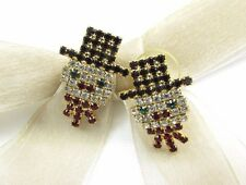 18k Gold Plate Snowman X'mas Swarovski Element Austrian Crystal Stud Earrings