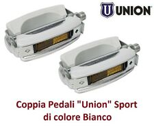 0235 - Coppia Pedali Union Vintage Sport Bianchi per Bici 20-24-26-28 City Bike