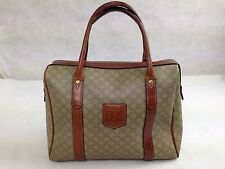 Auth CELINE MACADAM PVC Leather Mini Boston bag 5E1310022#