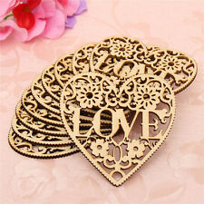 10x Laser Cut Decorative Heart Unfinished Wooden Shapes Craft Embellishments HOT