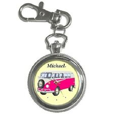 CAMPER VAN CLASSIC PINK PERSONALISED KEYCHAIN WATCH **ANY NAME**