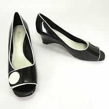 Etienne Aigner Shoes 8.5 Acton Black Patent White Button Peep Toe Wedge Slip On