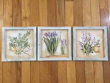 Set Of 3 Kitchen Herbs Canvas Prints With White-wash Pine Frames