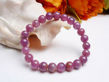 8mm Natural Red Ruby Gemstone Round Stretch Beads Bracelet AAA