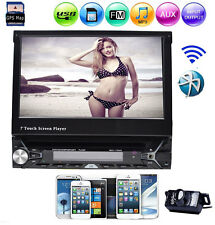Single Din Bluetooth GPS Slide Screen Video Car Stereo DVD Player+Backup Camera