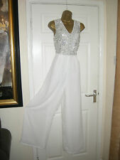 10 MAYA WHITE JUMPSUIT EMBELLISHED WIDE LEG CHIFFON WEDDING SUMMER HOLIDAY NEW
