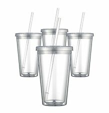 Maars Drinkware Bulk Double Wall Insulated Acrylic Tumblers with Straw and Lid (