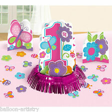 23 Piece Sweet Pink Butterfly Girl's 1st Birthday Party Table Decorating Kit