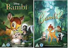 BAMBI PART 1 AND 2 MOVIE DVD COLLECTION ORIGINAL WALT DISNEY ANIMATED CARTOON UK