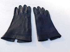 DESIGNER LADIES DARK BLUE LEATHER DRESS GLOVES UNLINED SIZE  6.5