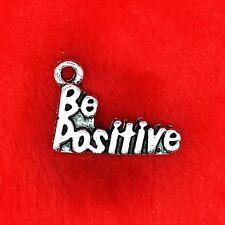 """6 x Plata Tibetana """"ser positivos"""" encanto colgante encontrar Abalorios hacer"""