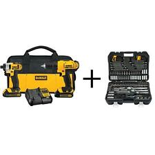 2pc DEWALT 20-V MAX Lithium-Ion Cordless Combo Kit w/200 pc Mechanics Tool Set!