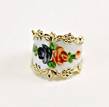 Amazing Flower Enamel Pattern Yellow Gold over Sterling Silver 925 Ring Size 6