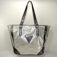 GUESS Large TOTE Shopper NWT ME324525 Star Metal SILVER Bag Purse Handbag $115