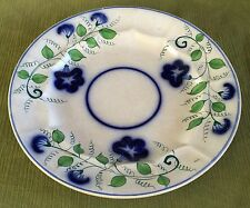 "LARGE 19C Antique Gaudy Ironstone Flow Blue Charger PLATE 10-1/4""  Morning Glory"