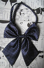 NAVY SPOTTY KITTY BOW GEEK KAWAII JAPAN SCHOOL GIRL COSPLAY ALT PRE TIED BOW TIE