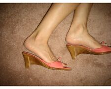NWT Mila Paoli italy italian coral pink mules wedge platform sandals 8.5