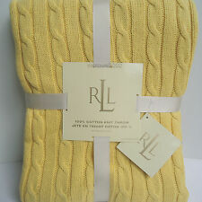 """Ralph Lauren YELLOW - CABLE KNIT THROW BLANKET - 100% Cotton 50x70"""" RL NEW"""